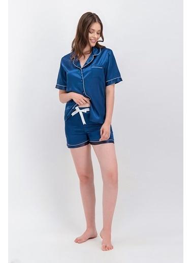 Arnetta Arnetta Basic Lacivert Kadın Saten Şort Gömlek Pijama Lacivert